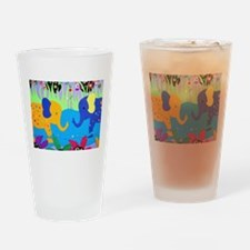 Colorful Elephants at Waterhole Drinking Glass
