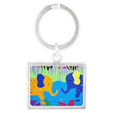 Colorful Elephants at Waterhole Keychains