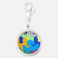 Colorful Elephants at Waterhole Charms