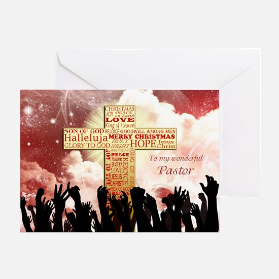 For pastor, A Christmas cross Greeting Cards
