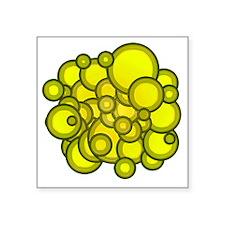 "Yellow Circles Square Sticker 3"" x 3"""