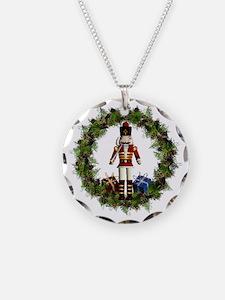 Red Nutcracker Wreath Circle Necklace