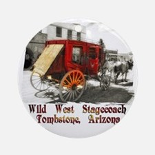 old west stagecoach Round Ornament