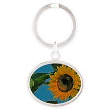 Sunflower Oval Keychain