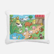 Farm Animals Rectangular Canvas Pillow