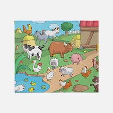 Farm Animals Throw Blanket