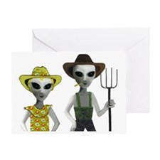 Alien Couple, Country Greeting Card