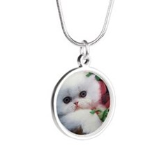 Kitten with Aliens Silver Round Necklace