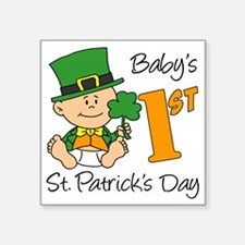 "First St Patricks Day Square Sticker 3"" x 3"""
