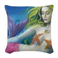maroon merm Woven Throw Pillow