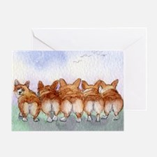 Five walk away together narrower Greeting Card