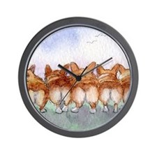 Five walk away together wider Wall Clock