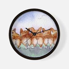 Five walk away together wider Wall Clock