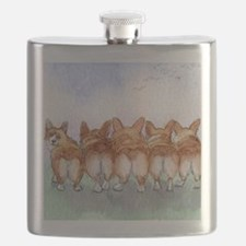 Five walk away together square square Flask