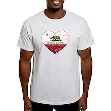california flag oceanside heart heart distressed T