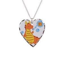Cute Dragon Necklace Heart Charm