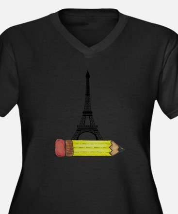 Pencil and EIffel Tower Plus Size T-Shirt