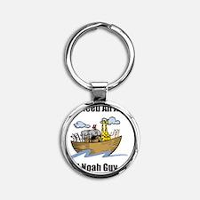 Noah Ark Black Round Keychain