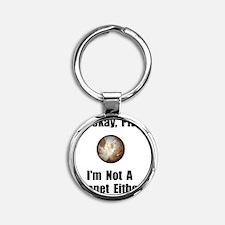 Pluto Planet Black Round Keychain