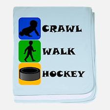 Crawl Walk Hockey baby blanket