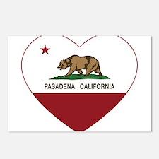 california flag pasadena heart Postcards (Package