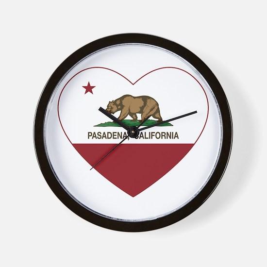 california flag pasadena heart Wall Clock