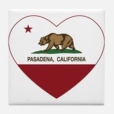 california flag pasadena heart Tile Coaster