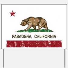 california flag pasadena distressed Yard Sign