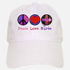 peace_love_nurse_1 Baseball Baseball Cap