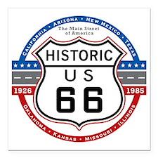"Route_66 Square Car Magnet 3"" x 3"""