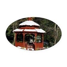 Gazebo surround by snow 3 Oval Car Magnet