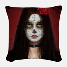 pretty vacant col squ corpse Woven Throw Pillow
