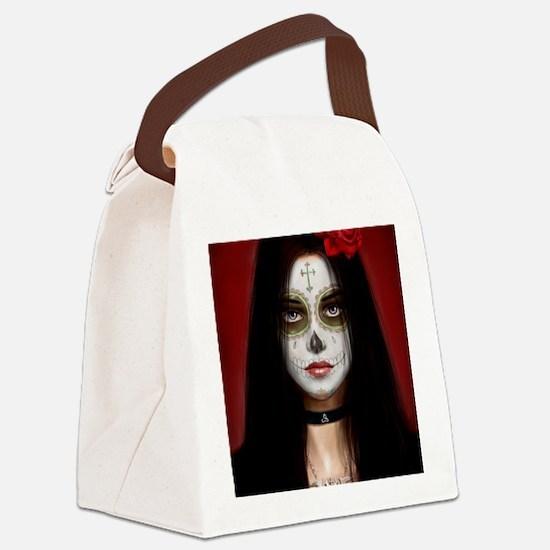 pretty vacant dia de muertos Canvas Lunch Bag