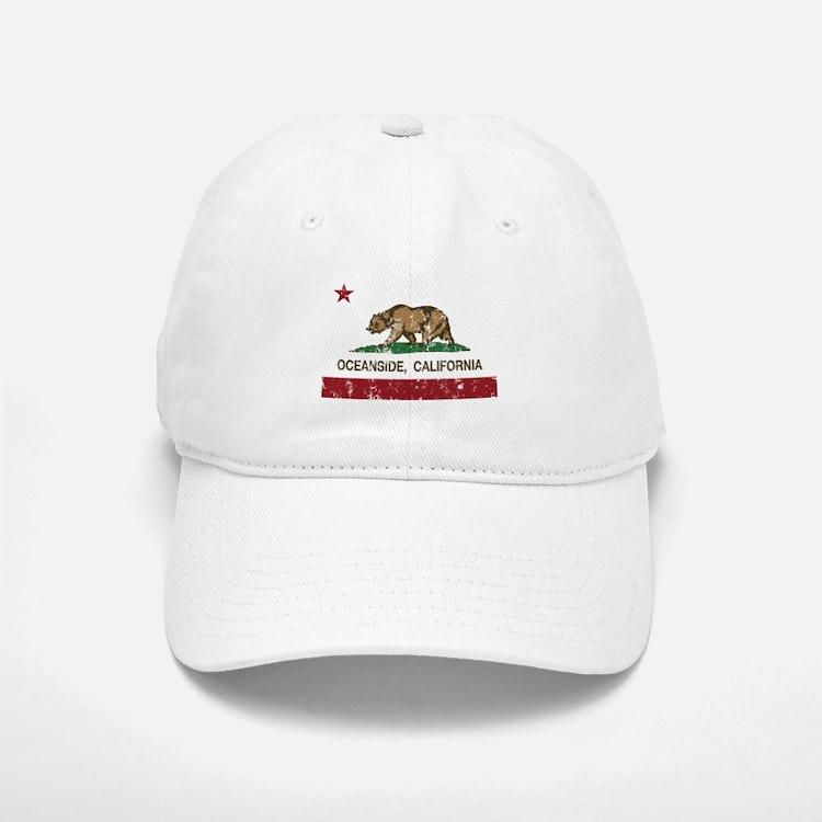 california flag oceanside distressed Baseball Baseball Baseball Cap