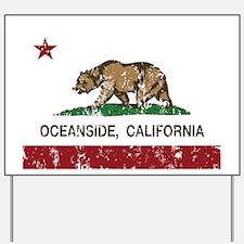 california flag oceanside distressed Yard Sign