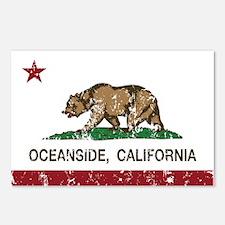 california flag oceanside distressed Postcards (Pa