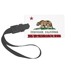 california flag oceanside distressed Luggage Tag