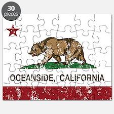 california flag oceanside distressed Puzzle