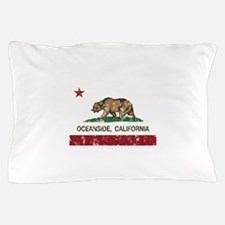 california flag oceanside distressed Pillow Case