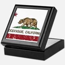 california flag oceanside distressed Keepsake Box