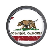 california flag oceanside distressed Wall Clock