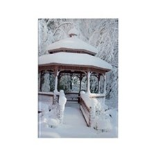 Gazebo surround by snow 7 Rectangle Magnet