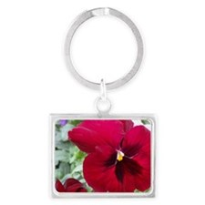 Perfect Red Pansy Flower Landscape Keychain