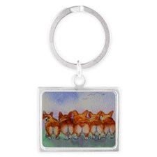 five walk away together saturat Landscape Keychain