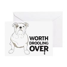 English Bulldog DROOL - Horiz Greeting Card