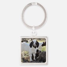 Twin goats Square Keychain