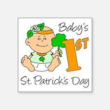 "Baby Girl First St Patricks Square Sticker 3"" x 3"""