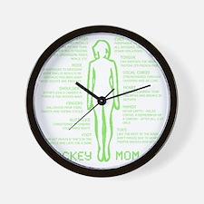hockey mom silhouette green Wall Clock