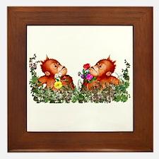 Baby Chimp Love Framed Tile