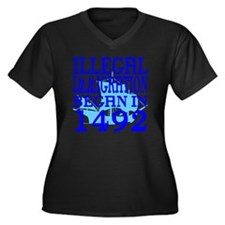 1492-blue-bb Women's Plus Size Dark V-Neck T-Shirt